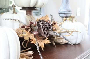Light and bright fall idea with faux painted pumpkins
