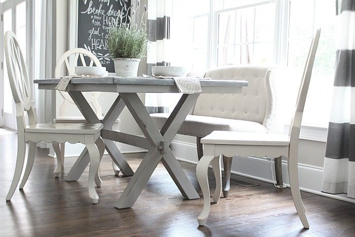Painted Farmhouse Table XBase Refresh Restyle - Farmhouse table with white base