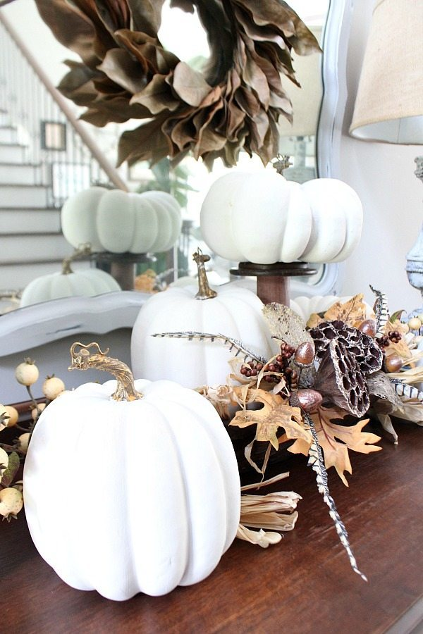 Painted faux white pumpkins for fall at Refresh Restyle