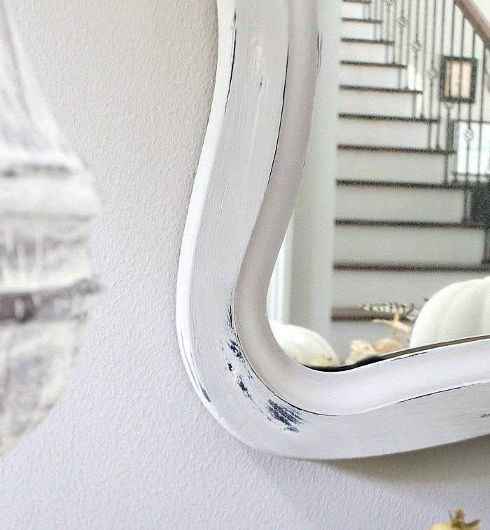 Painted mirror and lamp base no sanding distressing DIY