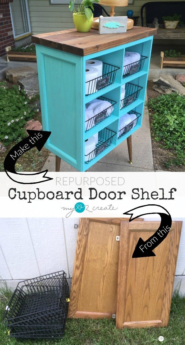 Repurposed Cupboard Door Shelf from My Repurposed Life