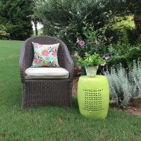 Thrift store makeover - Outdoor stool makeover with DecoArt Americana Decor outdoor living paint