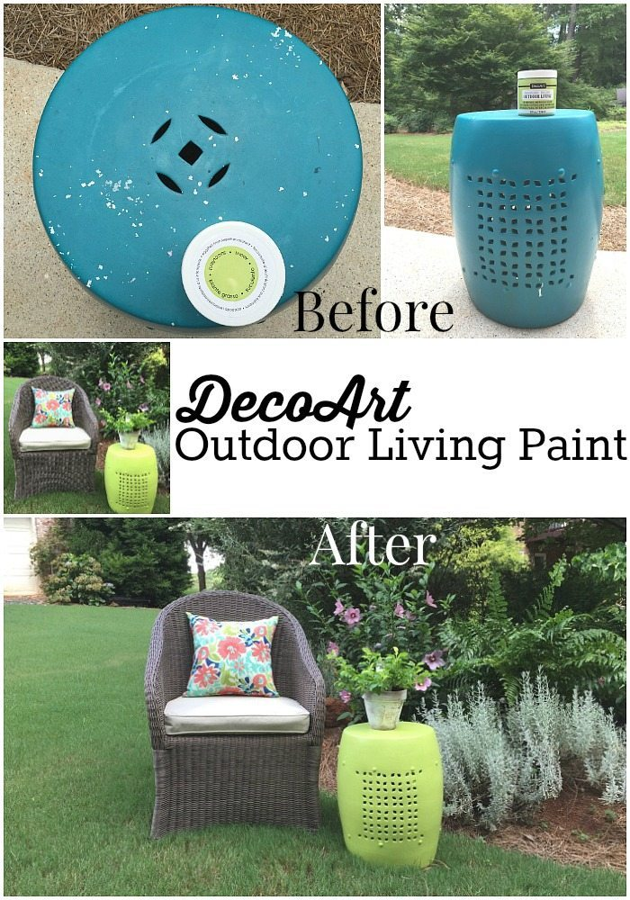 Trash to treasure outdoor makeover - Outdoor stool makeover with DecoArt Americana Decor outdoor living paint