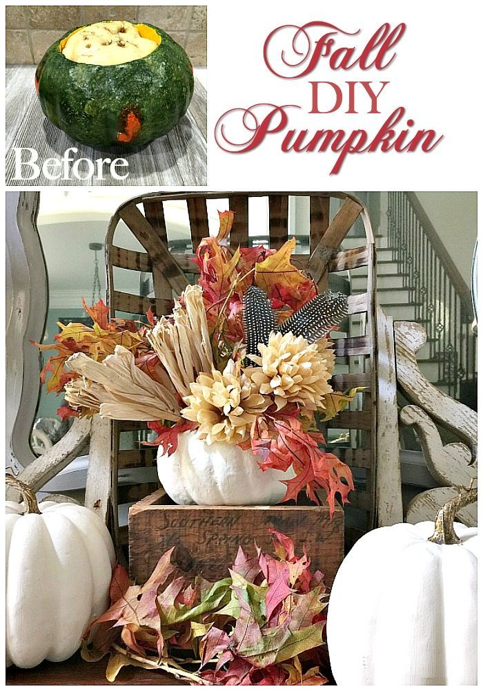 10 Minute Pumpkin makeover using a thrifty find to create a beautiful fall arrangement at Refresh Restyle