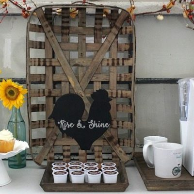 farmhouse-coffee-bar-with-chicken-chalkboard-tobacco-basket-old-window-perfect-rustic-look