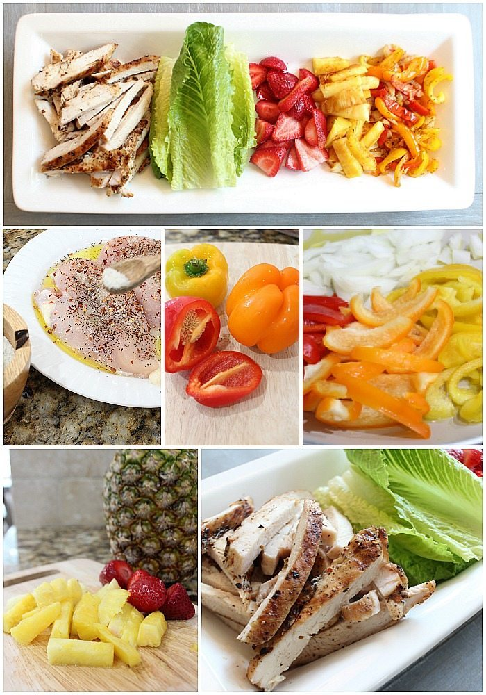 Grilled Chicken Lettuce wraps with fruits and veggies - quick and easy healthy recipe at Refresh Restyle