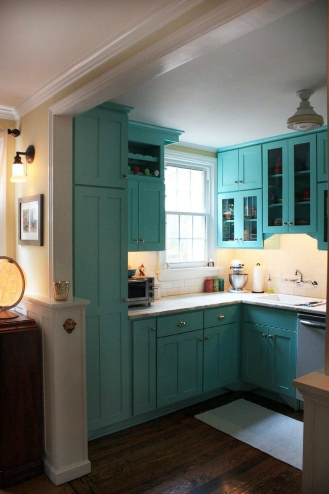 Jen and Andrew's Colorful Bungalow, Turquoise and Aqua Kitchen Ideas