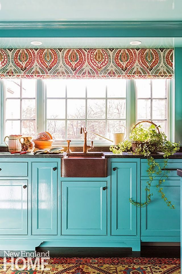 Teal And Coral Colored Kitchen