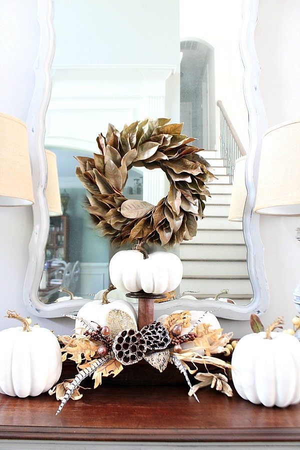Painted fall pumpkins great for a neutral fall decor idea at Refresh Restyle
