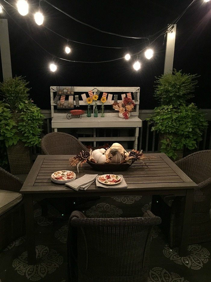 party lights on the deck make dining fun