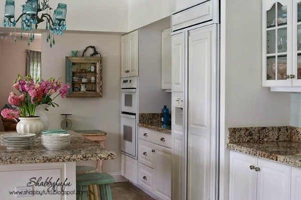 White Shabby Chic Kitchen via Shabbyfufu, White Kitchen Ideas
