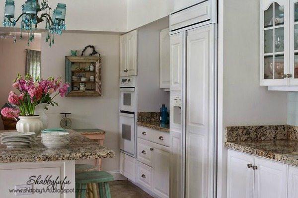 White Shabby Chic Kitchen via Shabbyfufu, White Kitchen Ideas