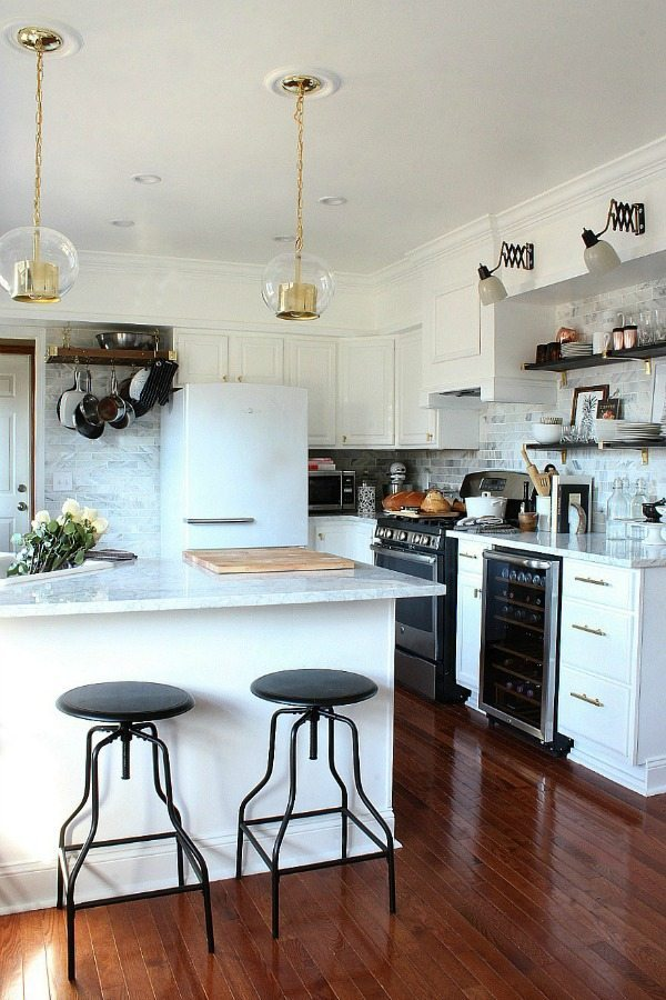 Bliss at Home with mixed metals, White Kitchen Ideas
