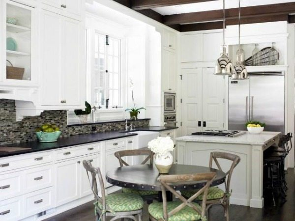 via DecorPad, White Paint Colors with Dark Countertops, White Kitchen Ideas