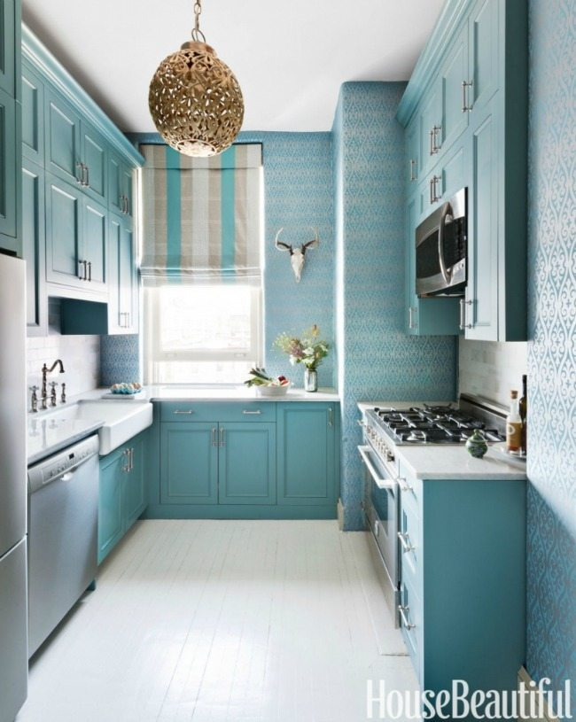 via House Beautiful, Turquoise and Aqua Kitchen Ideas