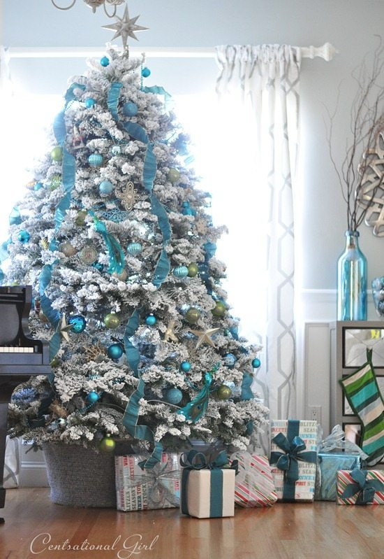 Centsational Girl, Blue Christmas Tree Ideas
