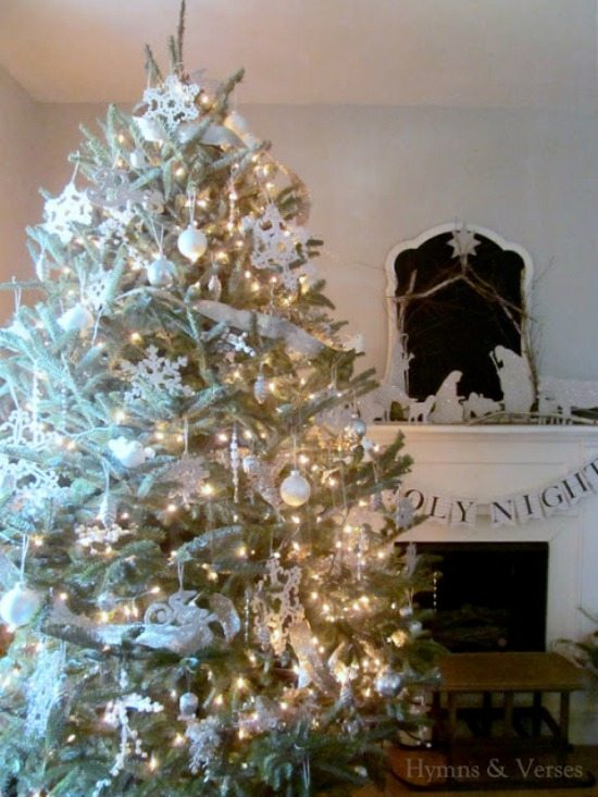 Hymns and Verses, Gold and Silver Christmas Tree Ideas via Refresh Restyle