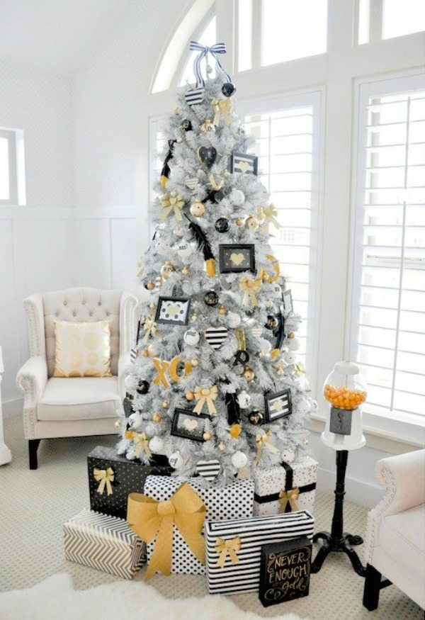 Kara's Party Ideas, Gold and Silver Christmas Tree Ideas