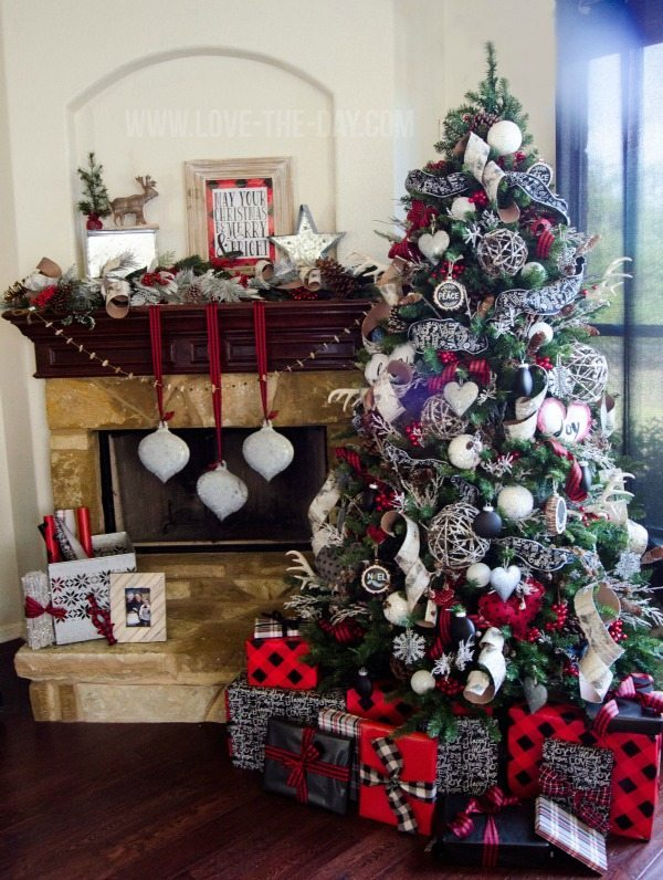 love the day plaid christmas tree ideas - Red And Black Plaid Christmas Decor