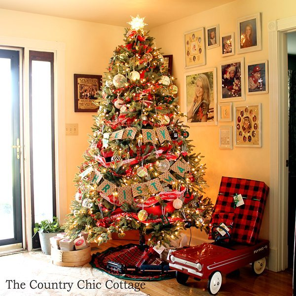 the country chic cottage plaid christmas tree ideas - Country Themed Christmas Tree Decorations