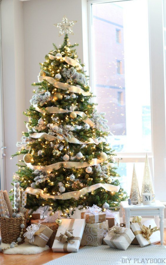 The DIY Playbook, Gold and Silver Christmas Tree Ideas via Refresh Restyle