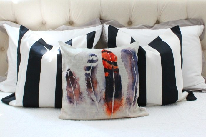 water-color-feathers-and-striped-pillows-for-fall