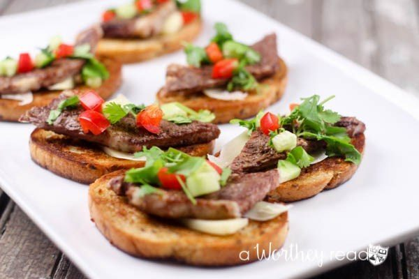 Angus Steak Bruschetta, 20 Easy Party Appetizers