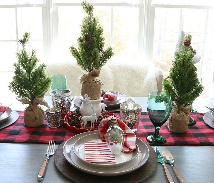 buffalo check farmhouse christmas table - Farmhouse Christmas