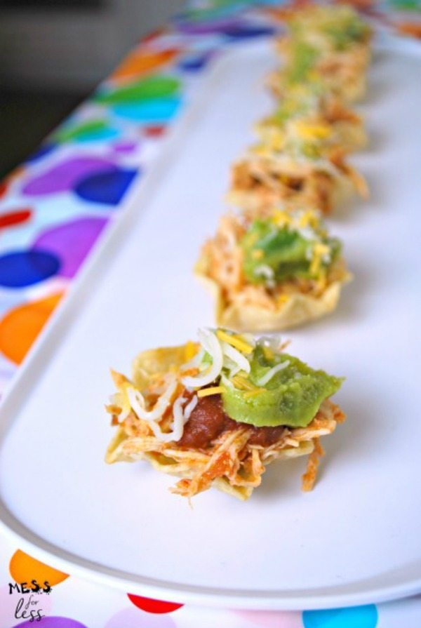 Chicken Taco Cups, 20 Easy Party Appetizers via Refresh Restyle