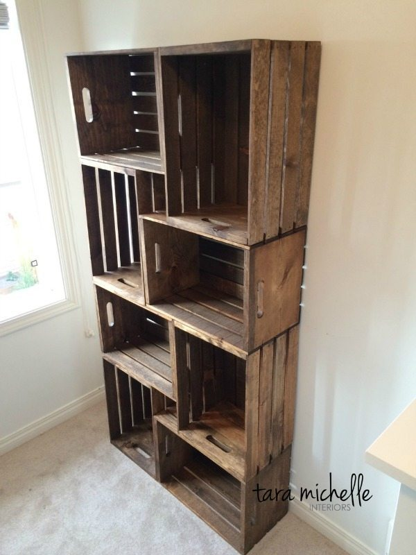 DIY Crate Bookshelf, Rustic Home Decor Ideas Via Refresh Restyle