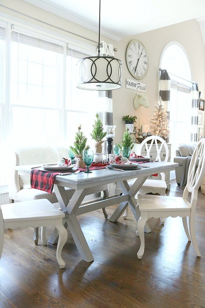 Farmhouse table dressed in buffalo check for Christmas