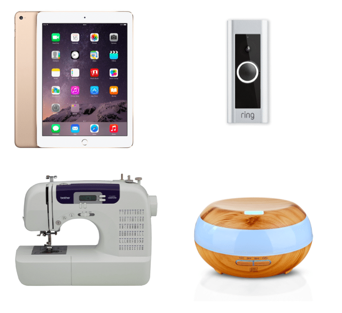 gold-ipad-the-ring-doorbell-brother-sewing-machine-and-essential-oils-diffuser