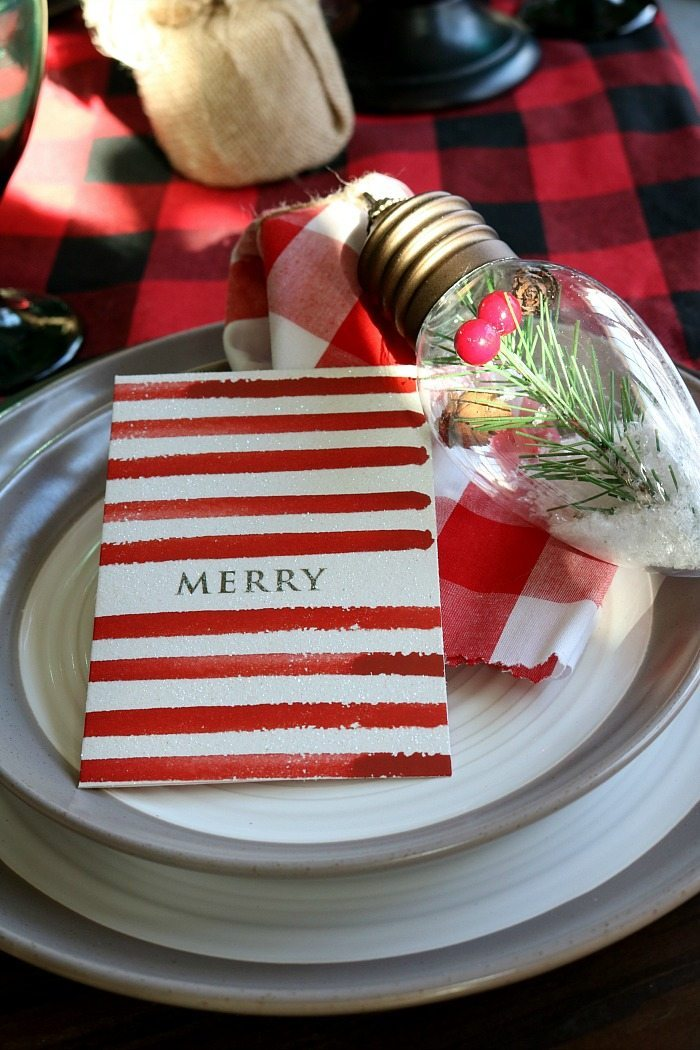 Use a small Christmas card for the place cards