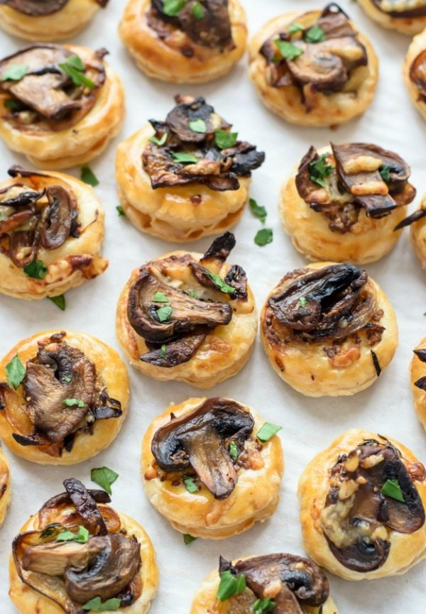 Cheesy Mushroom Puff Pastry, 20 Easy Party Appetizers via Refresh Restyle
