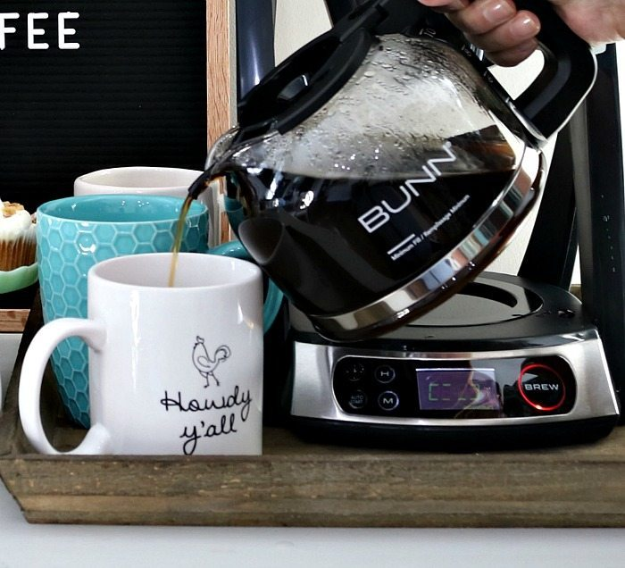 No drip spout - perfectly brewed coffee at home with all the fixings at the coffee bar