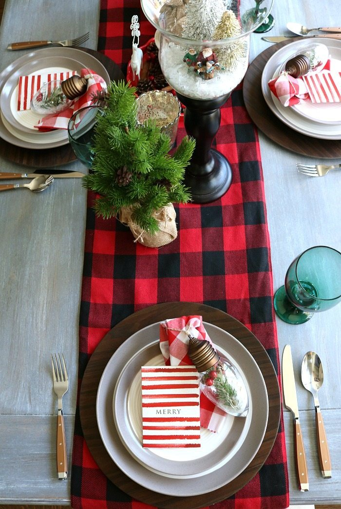 Plaid woodland farmhouse Christmas table decor idea
