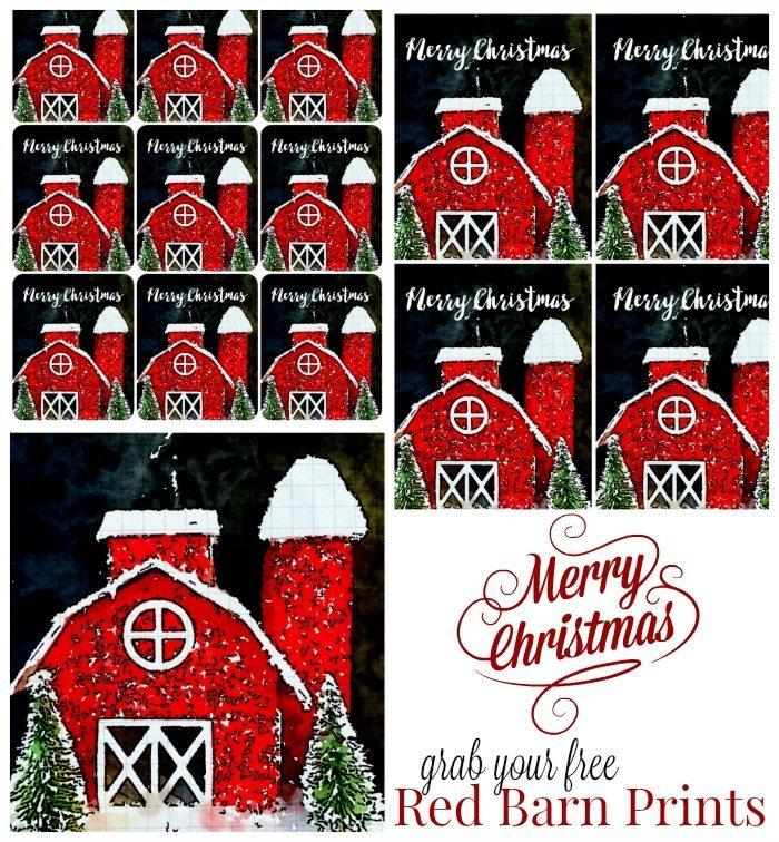Red Barn Christmas Tags - Prints