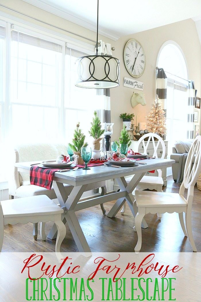 Rustic farmhouse table dressed for Christmas