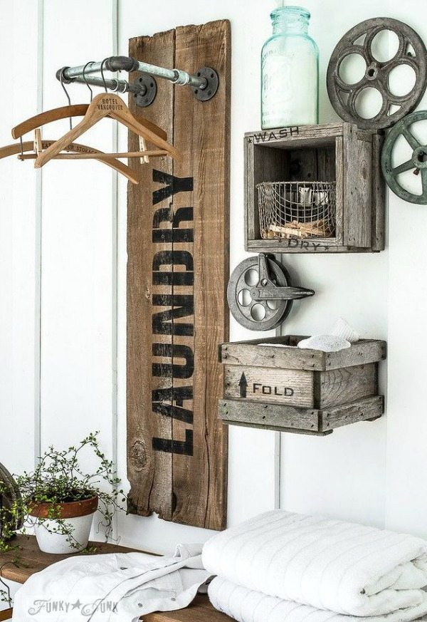 Rustic Laundry Hangup, Rustic Home Decor Ideas Via Refresh Restyle