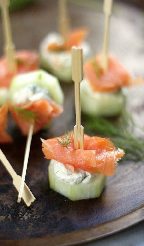 Smoked Salmon and Cream Cheese Cucumber Bites, 20 Easy Party Appetizers
