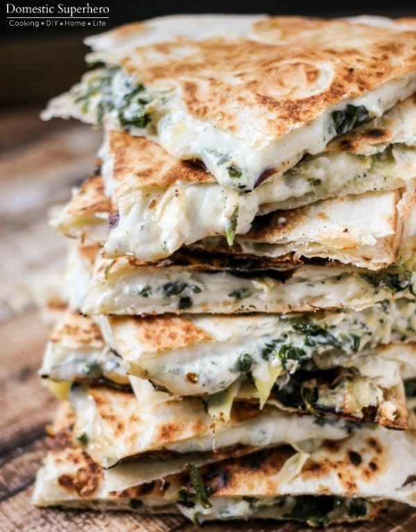 Spinach and Artichoke Quesadillas, 20 Easy Party Appetizers