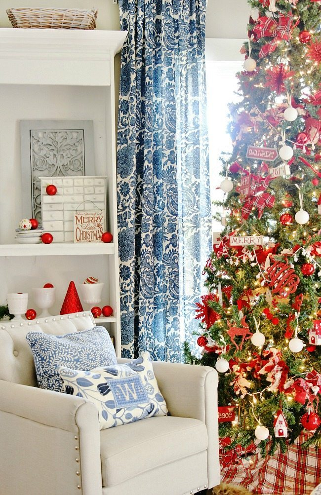 Blue and White Christmas decor