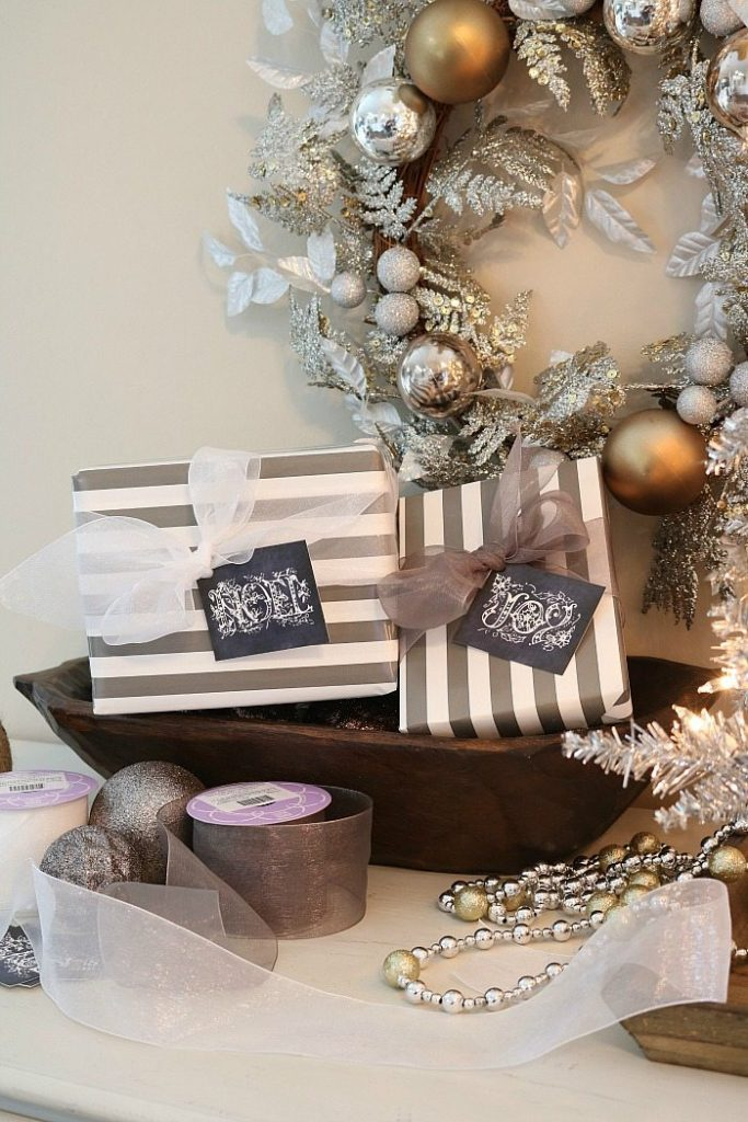 Gray and white gifts with chalkboard tags