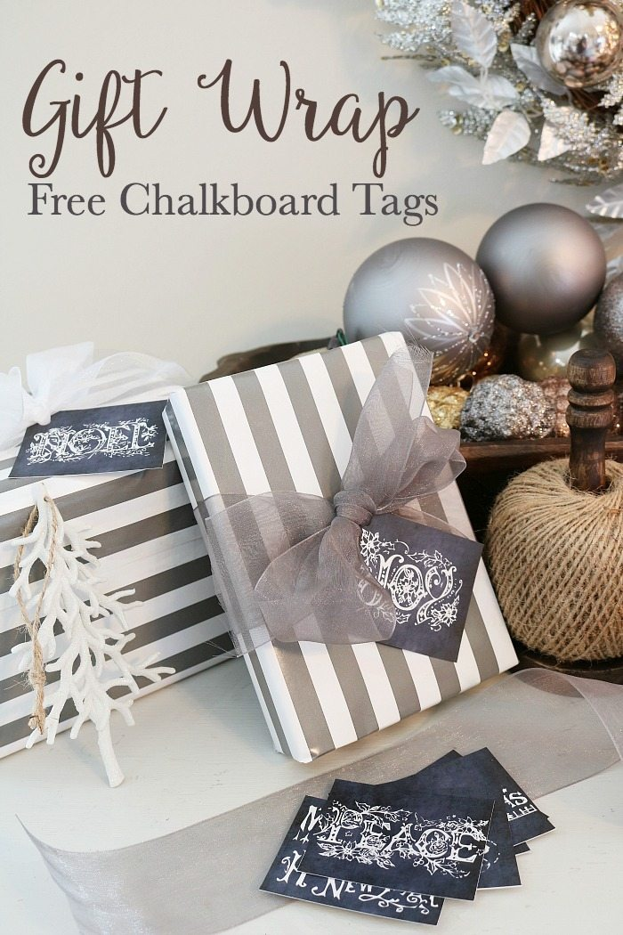 Gift wrap ideas plus free chalkboard tags for your Christmas presents.