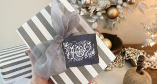 Gray stripes and chalkboard gift tags