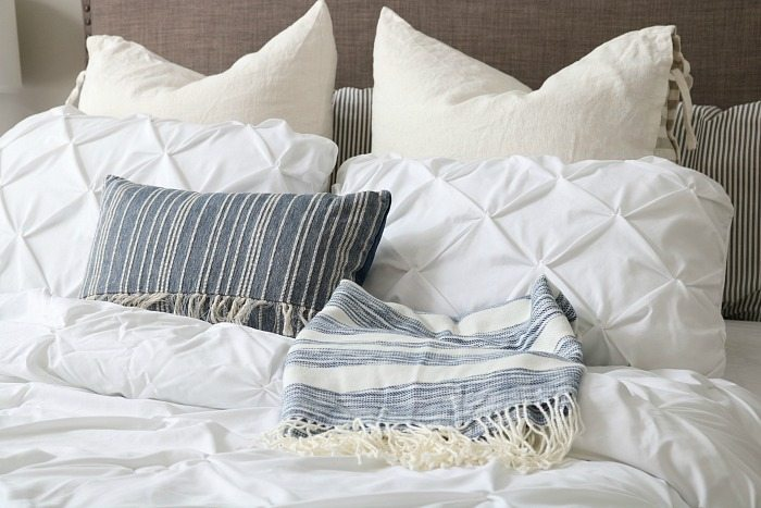 Love the mix of whites and blues - perfect for a relaxing bedroom. Loving indigo right now!