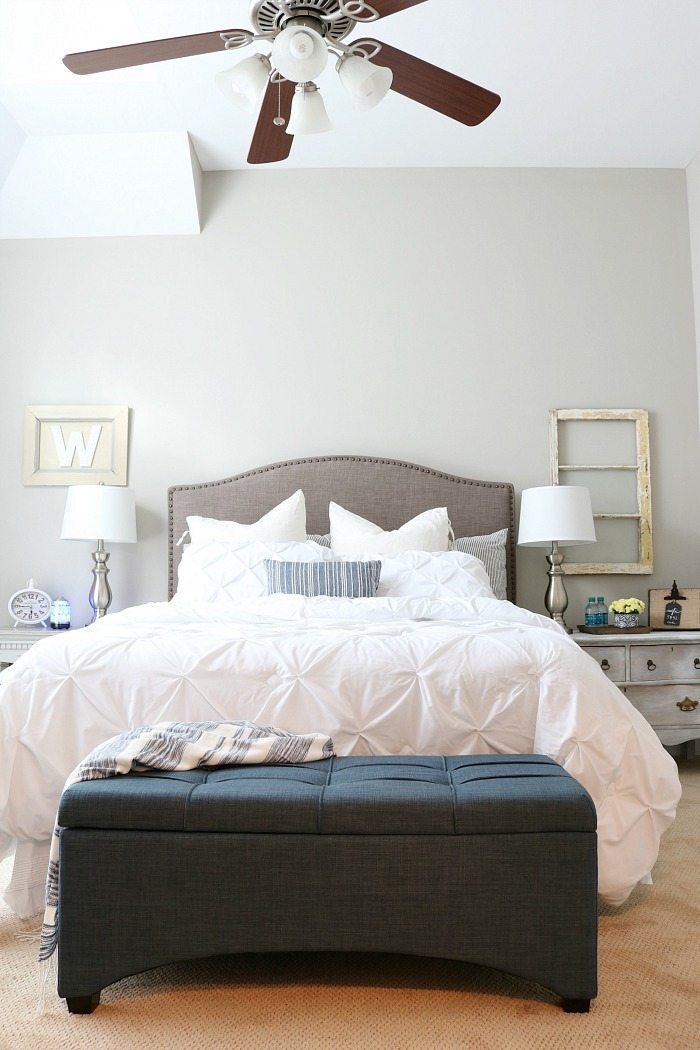 Pin Tucked bedding plus accents of indigo blue
