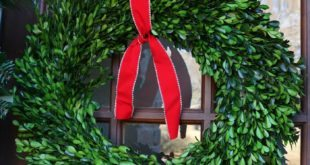 simple-red-ribbon-tied-to-a-preserved-boxwood-wreath-just-says-christmas