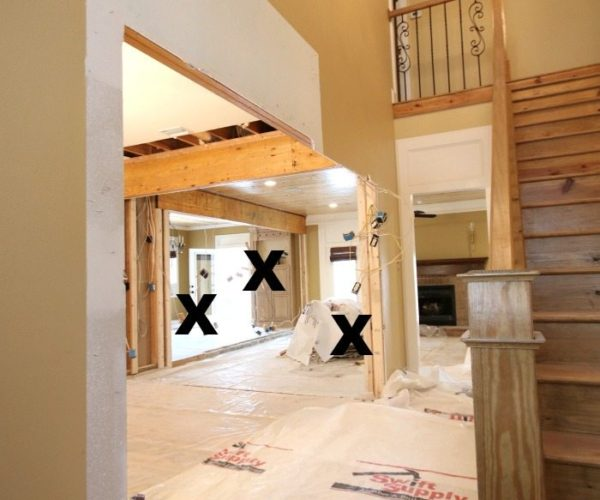 3 walls removed from the Alabama farmhouse, entry wall, kitchen wall, dining room wall