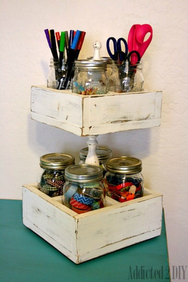 Addicted 2 DIY Mason Jar Craft Caddy, Mason Jar Organizing Ideas via Refresh Restyle